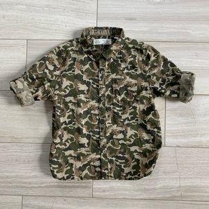Zara camouflage collared button shirt, size 3/4T